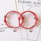 2 Pcs Mountain Alliance Eachother Pendant Couple Bracelets Set Magnetite Braided Hand Rope Bracelets - Red