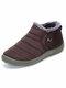 Letter Warm Fur Lining Waterproof Flat Black Sole Boots For Women - Coffee