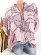 Ethnic Print Long Sleeve Button Casual Blouse - Pink