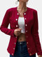 Plain Double-Breasted Blazer Solid Color Button Plus Size Suit Jacket - Wine Red