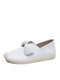 Women Solid Bowknot Flats Casual Loafers Shoes - White