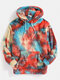 Mens Tie-Dye Print Plush Pouch Pocket Teddy Hoodie - Red