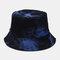Men Double-Side Tie-dye Cotton Graffiti Ink Painting Sunscreen Street Trend Fisherman Hat Bucket Hat - Blue