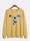 メンズコットン漫画宇宙飛行士プリント固体緩いレジャークルーネックスウェットシャツ - 黄