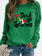 Solid Color Letters Print Long Sleeve Casual Sweatshirt - Green
