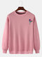 Mens Rose Chest Printed Round Neck Pullover Casual Drop Sleeve Sweatshirts - Pink
