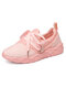 Women Large Size  Comfy Knitted Lace-Up Wide Fit Outdoor Walking Sneakers - Pink