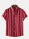 Mens Classic Striped Short Sleeve Casual Loose Turn Down Collar Shirts - Red