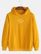 Mens Cotton Weather Printed Drop Sleeve Casual Drawstring Hoodies - Yellow