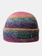 Women & Men Tie-dye Color Gradient Mixed Color Warm Ear Protection Brimless Beanie Knitted Hat - #05