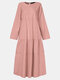 Solid Color Patchwork O-neck Long Sleeve Casual Dress For Women - Pink