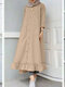 Women Ethnic Solid Color Button Ruffled Hem Pocket Casual Dress - Khaki
