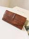 Women PU Leather Vintage Three-fold Card Case Phone Bag Wallet Purse Clutch Bag - Brown