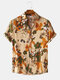 Mens Vintage Floral Oil Printting Short Sleeve Shirts - Yellow