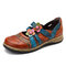 SOCOFY Vintage Floral Genuine Leather Splicing Colored Band Stitching Hook Loop Flat Shoes - Brown