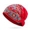 Women Embroidery Ethnic Cotton Beanie Hat Vintage Good Elastic Breathable Summer Turban Caps - Red