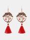 Christmas Red Flower Women Earrings Hollow Butterfly Tassel Pendant Earrings Jewelry Gift - #04