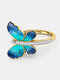Vintage Insect Women Ring Gradient Butterfly Diamond Ring Jewelry Gift - Gold