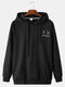 Mens Back Funny Face Letter Print Cotton Drawstring Hoodies With Pouch Pocket - Black
