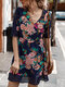 Casual Floral Printed A-line Hollow Out V-neck Short Sleeve Mini Dress - Blue