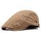 Cotton Embroidered Strip Pattern Artistic Young People Beret Cap Breathable Absorb Sweat Beret Hat - Khaki