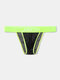 Men Sexy Transparent Net Briefs Side Open Loose Nylon Low Rise Colorful Waistband Underwear - Bright Green