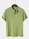 Mens Solid Color Pleated Texture Short Sleeve Henley Shirt - Green