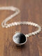 Double-Sided Glass Ball Women Necklace Gray Galaxy Planet Pendant Necklace Jewelry - #02
