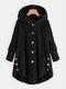 Women Solid Color Button Pocket Loose Plush Casual Coat - Black