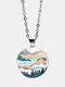 Trendy Metal Round Natural Landscape Print Glass Pendant Necklace - Silver