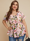 Flowers Print Button V-neck Plus Size Casual Blouse - Pink
