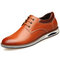 Men Pure Color Non Slip Lace Up Soft Casual Leather Shoes  - Yellow