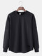 Mens Basic Solid Color Round Neck Curved Hem Casual Long Sleeve T-Shirt - Black