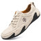 Men Leather Breathable Non Slip Soft Sole Casual Driving Shoes - Beige