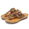 SOCOFY Leather Cutout Floral Buckle Adjustable Elastic Strap Flip Flops Thong Flat Sandals - Apricot
