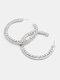 Trendy Rhinestone Earrings Temperament Metal Circle Earrings - Silver