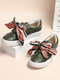 LOSTISY Scarf Decor Hook Loop Casual Flat Women Skate Shoes - Green