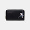 Women PU Leather Ethnic Multi-card Slots Photo Card Phone Bag Money Clip Wallet Coin Purse - Black