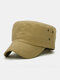 पुरुष कपास रेट्रो आउटडोर आकस्मिक सांस सैन्य टोपी पीक टोपी फ्लैट टोपी - बेज