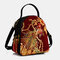 Women Ethnic Embroidered Sequined Canvas Peacock Handbag Crossbody Bag - Wine Red