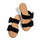 Plus Size Women Daily Comfy Open Toe Dual Strap Buckle Slip On Slippers - Black