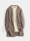 Mens Knitted Plain Long Sleeve Mid-Length Casual Sweater Cardigan With Pocket - Khaki