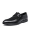 Men Retro Metal Buckle Leather Splicing Synthetic Suede Comfy Wearable Business Casual Shoes - Black