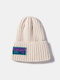 Unisex Knitted Solid Color Letter Pattern Sew Cloth Steeple Brimless Flanging Outdoor Warmth Beanie Hat - White