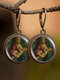 Vintage Round Glass Printed Ear Hooks Alloy Oil Painting Pendant Earrings - #05