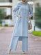 Solid Color O-neck Long Sleeve Plus Size Button Blouse Suit for Women - Lake Blue