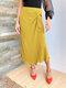 Liso Assimétrico Em Camadas Nóadas Cintura Alta Plus Tamanho Midi Saia - Amarelo