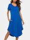 Women Softies Long Nightdress Plain Short Sleeve O-Neck Plus Size Irregular Loungewear - Blue