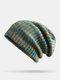 Strisce di colore arcobaleno misto lana donna Modello Plus Cappello lavorato a maglia con berretto in velluto spesso caldo - verde