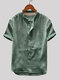 Mens Cotton Linen Vintage Solid Stand Collar Casual Henley Shirt - Green